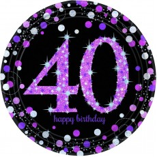 40th Birthday Pink Celebration Prismatic Dinner Plates