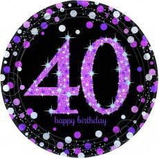 Round 40th Birthday Pink Celebration Prismatic Dinner Plates 23cm Pack of 8