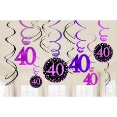 40th Birthday Pink Celebration Swirl Hanging Decorations Pack of 12