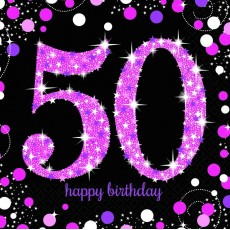 50th Birthday Pink Celebration Lunch Napkins 33cm x 33cm Pack of 16