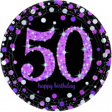 50th Birthday Pink Celebration Dinner Plates