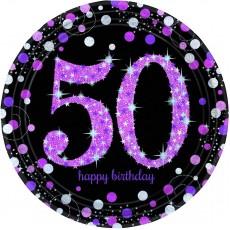 Round 50th Birthday Pink Celebration Dinner Plates 23cm Pack of 8