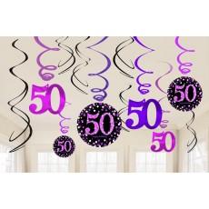 50th Birthday Pink Celebration Swirl Hanging Decorations Pack of 12