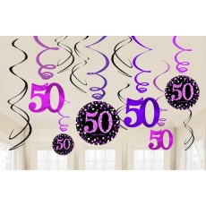 50th Birthday Pink Celebration Swirl Hanging Decorations