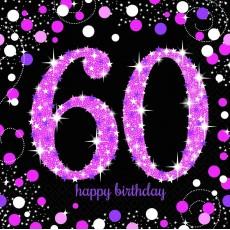 60th Birthday Pink Celebration Lunch Napkins 33cm x 33cm Pack of 16