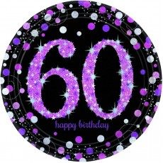 60th Birthday Pink Celebration Prismatic Dinner Plates
