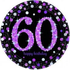 Round 60th Birthday Pink Celebration Prismatic Dinner Plates 23cm Pack of 8