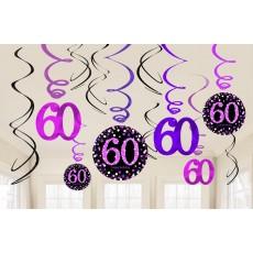 60th Birthday Pink Celebration Swirl Hanging Decorations Pack of 12