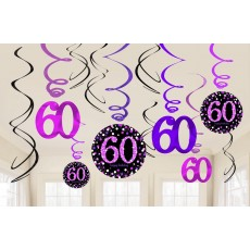 60th Birthday Pink Celebration Swirl Hanging Decorations
