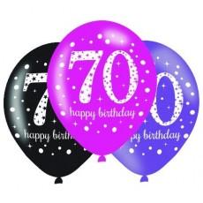 Teardrop 70th Birthday Pink Celebration Latex Balloons 30cm Pack of 6