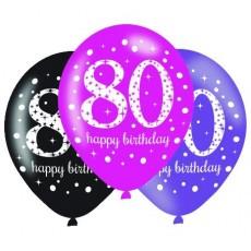 Teardrop 80th Birthday Pink Celebration Latex Balloons 30cm Pack of 6