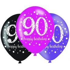 Teardrop 90th Birthday Pink Celebration Latex Balloons 30cm Pack of 6