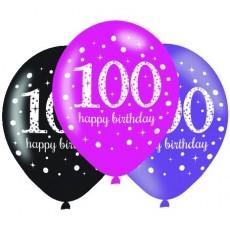 Teadrop 100th Birthday Pink Celebration Latex Balloons 30cm Pack of 6