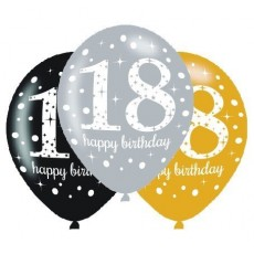 18th Birthday Sparkling Celebration Latex Balloons