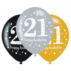 Teardrop 21st Birthday Sparkling Celebration Latex Balloons 30cm Pack of 6