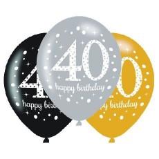 Teardrop 40th Birthday Sparkling Celebration Latex Balloons 30cm Pack of 6