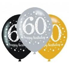 Teardrop 60th Birthday Sparkling Celebration Latex Balloons 30cm Pack of 6