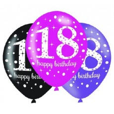 18th Birthday Pink Celebration Latex Balloons