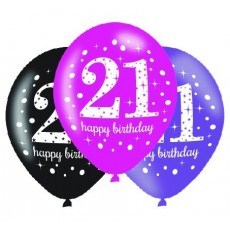 21st Birthday Pink Celebration Latex Balloons