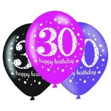 Teardrop 30th Birthday Pink Celebration Latex Balloons 30cm Pack of 6