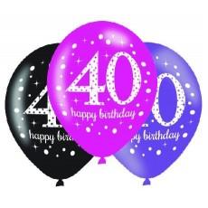 40th Birthday Pink Celebration Latex Balloons
