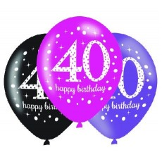 Teardrop 40th Birthday Pink Celebration Latex Balloons 30cm Pack of 6