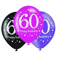 60th Birthday Pink Celebration Latex Balloons