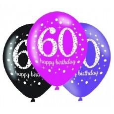 Teardrop 60th Birthday Pink Celebration Latex Balloons 30cm Pack of 6