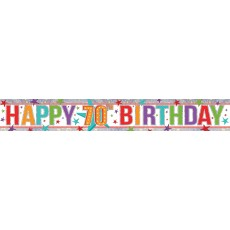 Multi Coloured Holographic Happy 70th Birthday Banner 2.7m