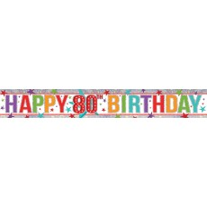 80th Birthday Multi Coloured Holographic Banner