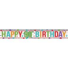 90th Birthday Multi Coloured Holographic Banner