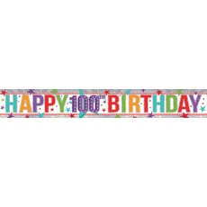 100th Birthday Multi Coloured Holographic Banner