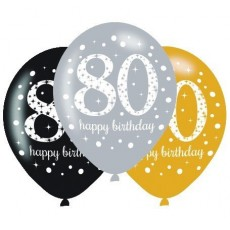 80th Birthday Sparkling Celebration Latex Balloons