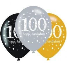 100th Birthday Sparkling Celebration Latex Balloons