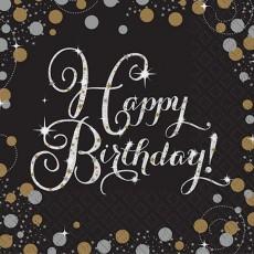 Black, Gold & Silver Sparkling Celebration Happy Birthday! Lunch Napkins 33cm x 33cm Pack of 16