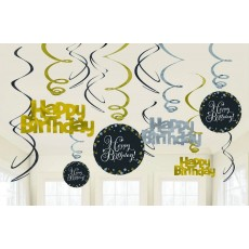 Black, Gold & Silver Sparkling Celebration Swirl Happy Birthday to You! Hanging Decorations Pack of 12