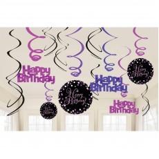 Happy Birthday Black, Pink & Silver Sparkling Swirls Hanging Decorations