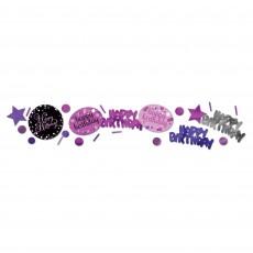 Happy Birthday Pink, Purple & Black Sparkling Confetti