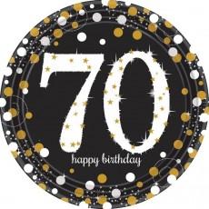Round 70th Birthday Sparkling Celebration Prismatic Dinner Plates 23cm Pack of 8