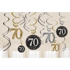 70th Birthday Sparkling Celebration Swirl i Hanging Decorations