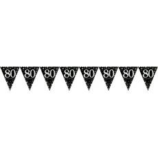 80th Birthday Sparkling Celebration Prismatic Pennant Banner 4m x 20cm