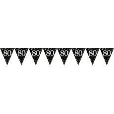 80th Birthday Sparkling Celebration Prismatic Pennant Banner