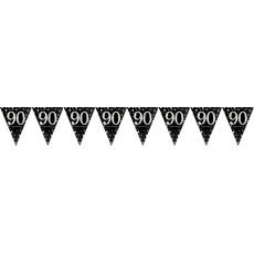 90th Birthday Sparkling Celebration Prismatic Pennant Banner 4m x 20cm
