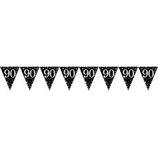 90th Birthday Sparkling Celebration Prismatic Pennant Banner