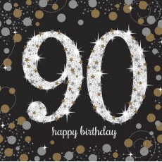 90th Birthday Sparkling Celebration Lunch Napkins 33cm x 33cm Pack of 16