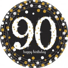 90th Birthday Sparkling Celebration Prismatic Dinner Plates