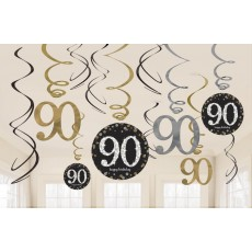 90th Birthday Sparkling Celebration Swirl Hanging Decorations
