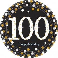 Round 100th Birthday Sparkling Celebration Prismatic Dinner Plates 23cm Pack of 8
