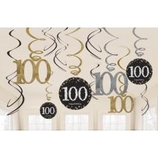 100th Birthday Sparkling Celebration Swirl Hanging Decorations Pack of 12