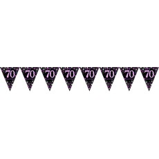 70th Birthday Pink Celebration Prismatic Plastic Pennant Banner